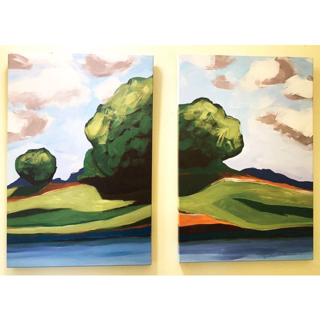 Summer Trees Large Pair of Prints on Canvas of Hand Painted Artwork - a Pair For Sale - Image 13 of 13