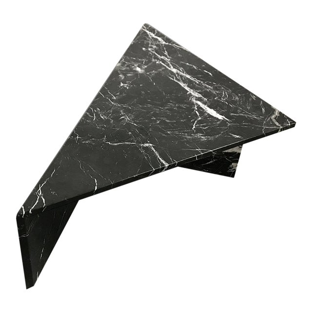 1970s Black Marble Triangular Coffee Table For Sale
