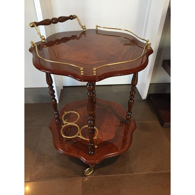 Handmade Italian Burled Wood and Inlay Bar Cart With Two Matching Trays - Image 2 of 11