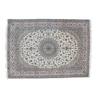 "Persian Leon Banilivi Ivory Wool Nain Carpet - 7'10"" X 11'1"""