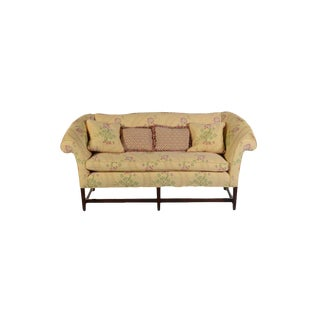Chippendale Scalamandre Floral Upholstered Settee For Sale