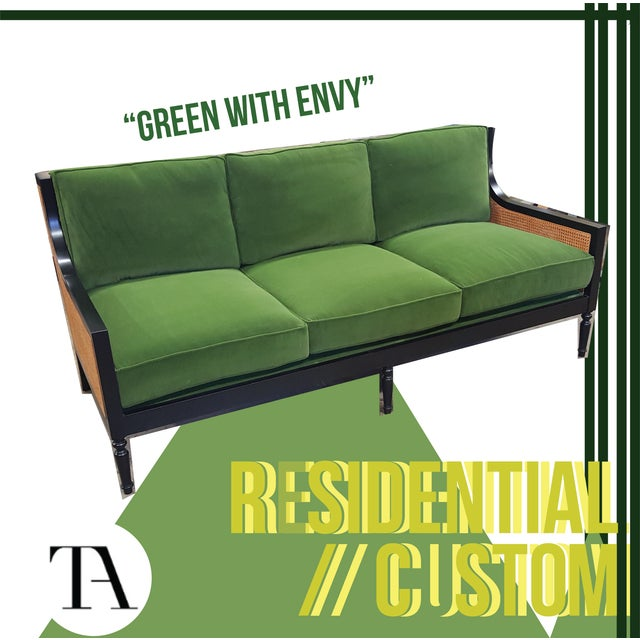 Style - Modern Cane Sofa. Cane inset back and side arms. Finished upholstered drop in deck. Back and seat cushions....