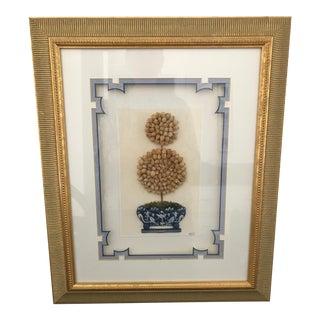Framed Botanical Topiary Textile Art For Sale