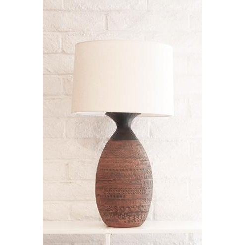 Brown Incised Pottery Lamp For Sale - Image 8 of 8