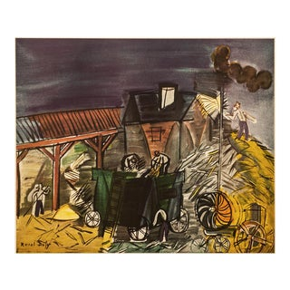 """1954 Raoul Dufy, """"Threshning"""" First Edition Cottage Style Lithograph For Sale"""
