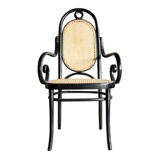 Thonet Model Number 17 Arm Chair in Black Bentwood & Natural Cane For Sale