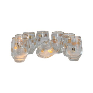Mid-Century Gold Gilt Roses Glasses - Set of 8 For Sale