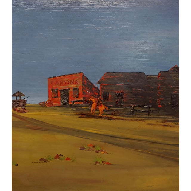 """Industrial John Lewis Egenstafer """"Wild West Town"""" Oil Painting For Sale - Image 3 of 7"""