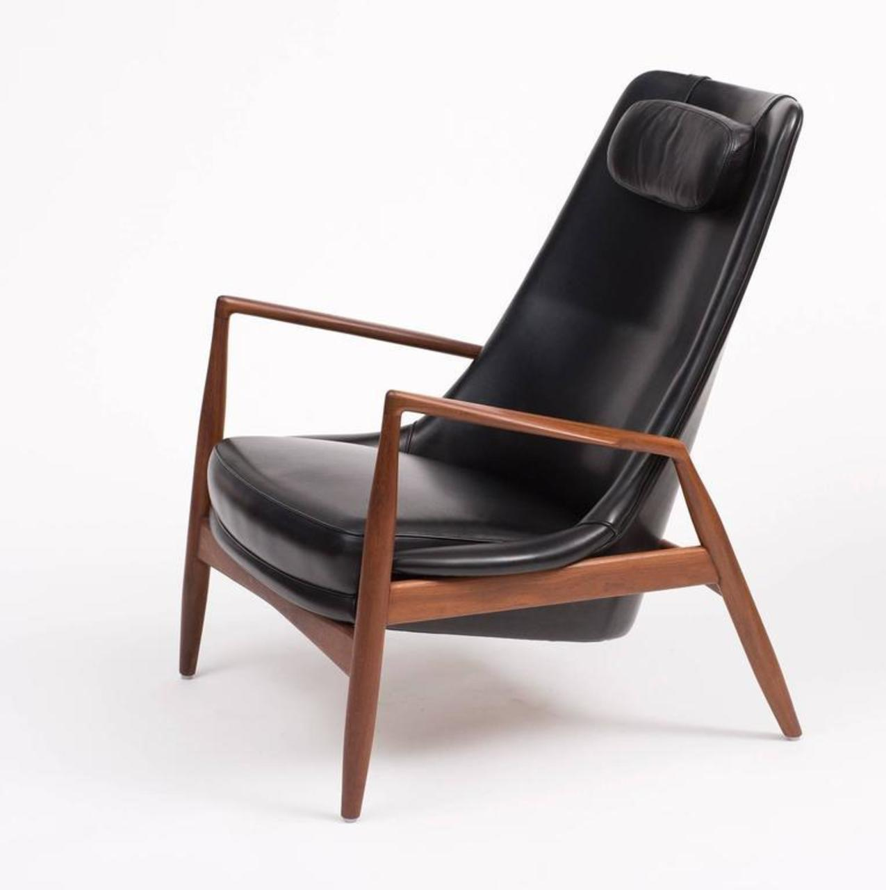 Ib Kofod Larsen High Back Seal Chair In Teak And Black Leather For OPE,