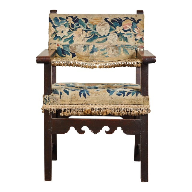 19th C. Spanish Walnut Chair With Embroidered Upholstery For Sale