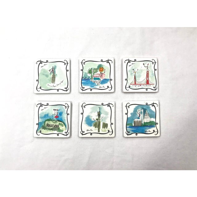 Ceramic Vacationist Coasters - Set of 6 For Sale - Image 9 of 9