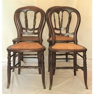 Late 19th Century Cane Bottom Balloon Back Dining Chairs - Set of 4 Preview