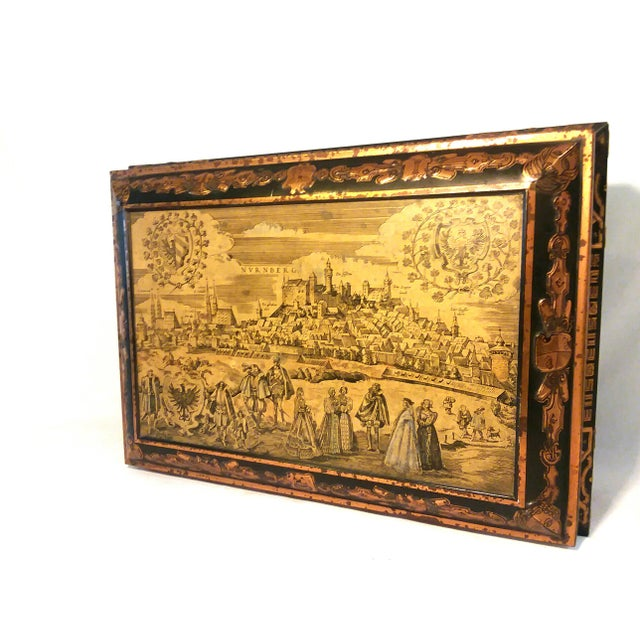 Gold Antique E. Otto Schmidt Nuremberg Large Biscuit Tin - Medieval Scenes For Sale - Image 8 of 8