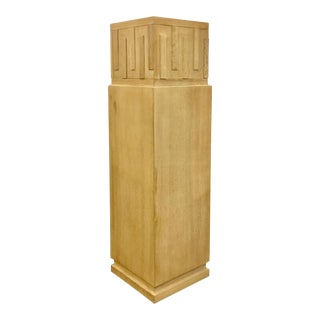 Transitional French Key Limed Wood Pedestal For Sale