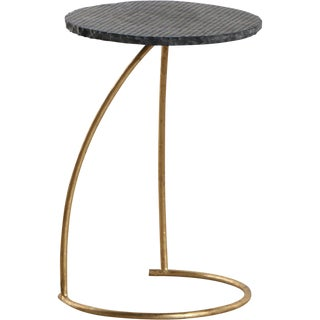 Transitional Bleecker Iron and Stone Accent Table