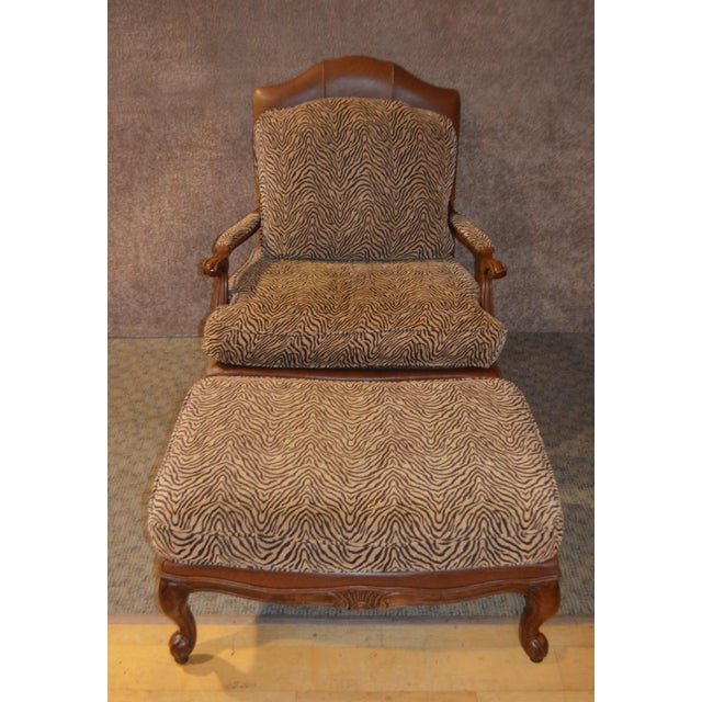 Ethan Allen Multi Fabric Oversized Chair & Ottoman For Sale - Image 13 of 13
