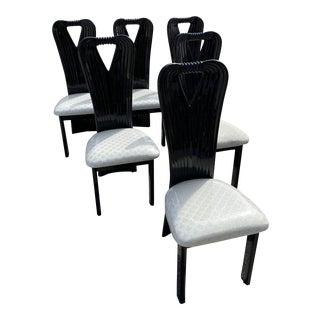 Pietro Costantini Style Black Lacquered Italian Dining Chairs -Set of 6 For Sale