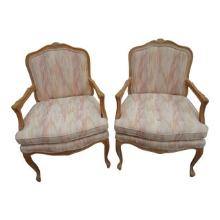 1970s Vintage Solid Wood Bergere Chairs- A Pair For Sale