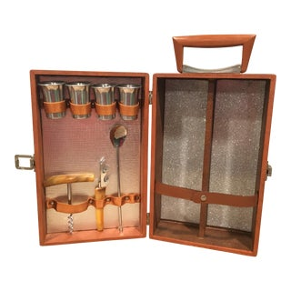 Mid-Century Modern Brass and Leather Portable Bar Tool Kit