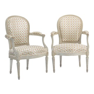 Late 18th Century Henri Jacob Louis XVI Grey Painted Armchairs - a Pair For Sale