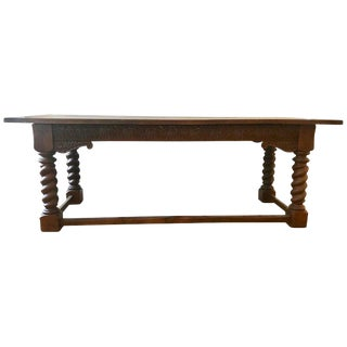 Jacobean Style Carved Oak Refectory Table For Sale