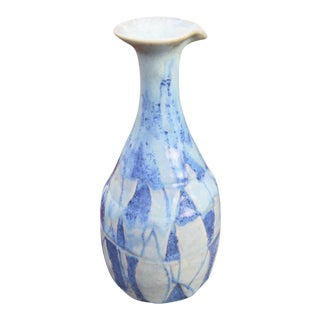Signed Geometric Studio Pottery Lipped Vase For Sale