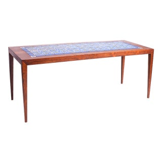 1960s Severin Hansen Danish Modern Rosewood with Ceramic Tiles Coffee Table