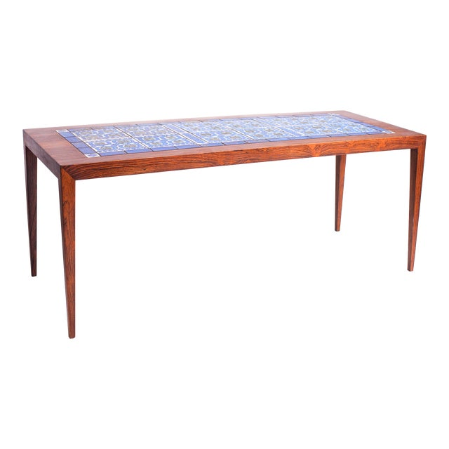 1960s Severin Hansen Danish Modern Rosewood with Ceramic Tiles Coffee Table For Sale