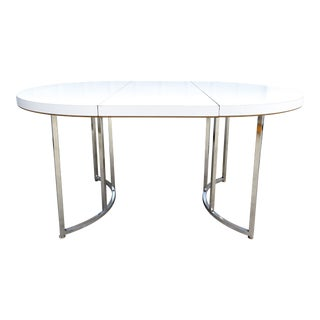 Mid Century Modern Chrome Dinette/Dining Table w/ Leaf For Sale