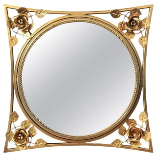 20th Century Art Decó Gold Gilt Metal Mirror With Beautiful Corners Fleurs For Sale