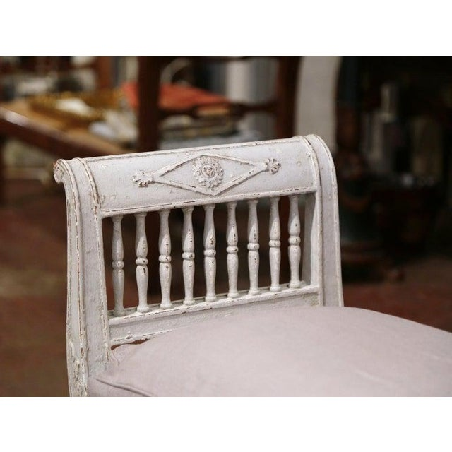 Gray 19th Century French Directoire Carved Painted Upholstered Banquette With Back For Sale - Image 8 of 9