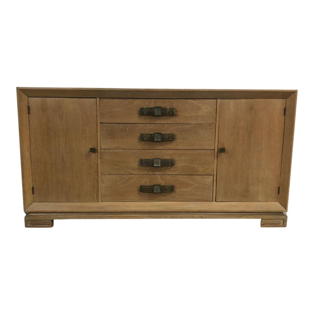 Grosfeld House Mid Century Asian Chinoiserie Solid Wood Credenza Buffet For Sale