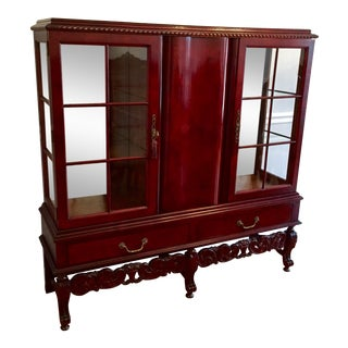 Antique Dutch Mahogany China Cabinet