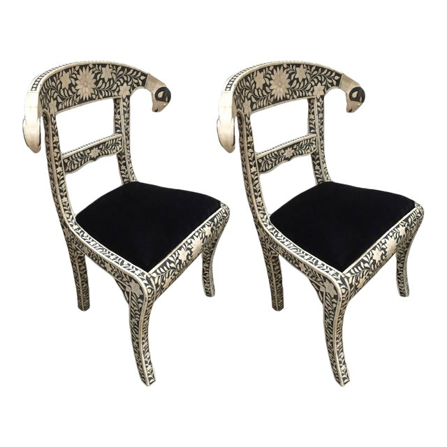 Vintage Mid Century Anglo-Indian Bone Inlaid Side Chairs With Ram's Head- a Pair For Sale