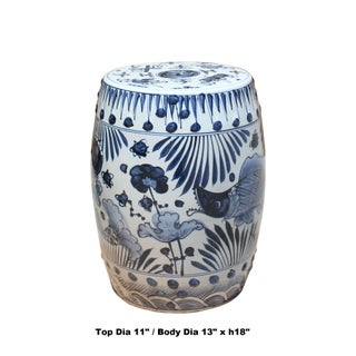 Chinese Blue & White Porcelain Round Fishes Theme Stool Preview