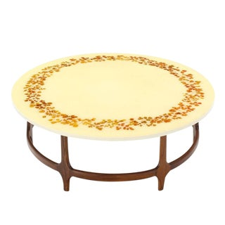 Decorative Mid-Century Modern Walnut Base Round Coffee Table For Sale