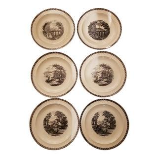 1960s Wedgwood Lugano Black Cream Ware Dinner Plates - Set of 6 For Sale