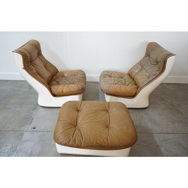 Mid-Century Modern Pair of Leather Chairs and Single Ottoman, Sold as a Set For Sale - Image 3 of 10