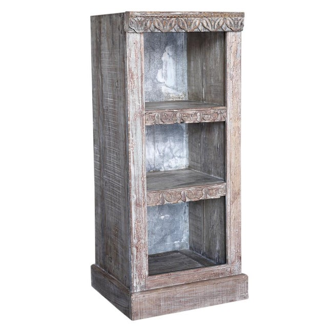 Whitewash Carved Front Bookcase Image 2 Of