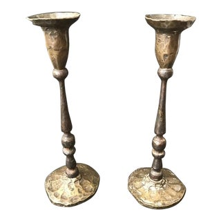 Hammered Bronze Candlestick Holders, France - a Pair For Sale