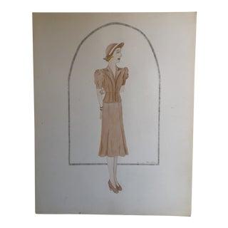 Original Vintage Art Deco 1930's Female Fashion Illustration Painting For Sale