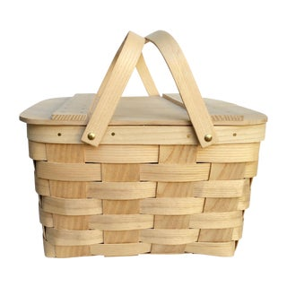 Vintage Woven Ash Picnic Basket For Sale