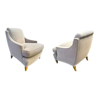 Maurice Hirsch Superb and Chicest Pair of Chairs Newly Covered in Grey Velvet