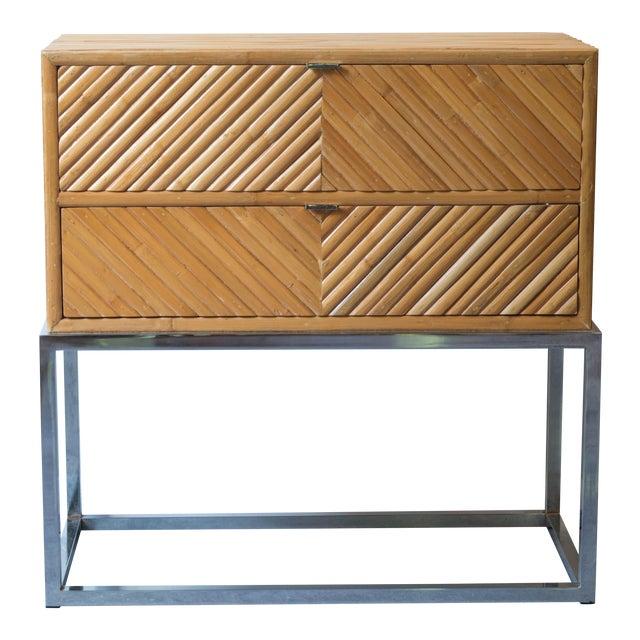 Milo Baughman Split Bamboo Rattan Nightstand Table For Sale