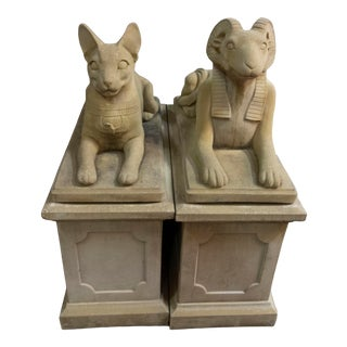 Late 20th Century Egyptian Sculptures of a Cat and Ram - a Pair For Sale