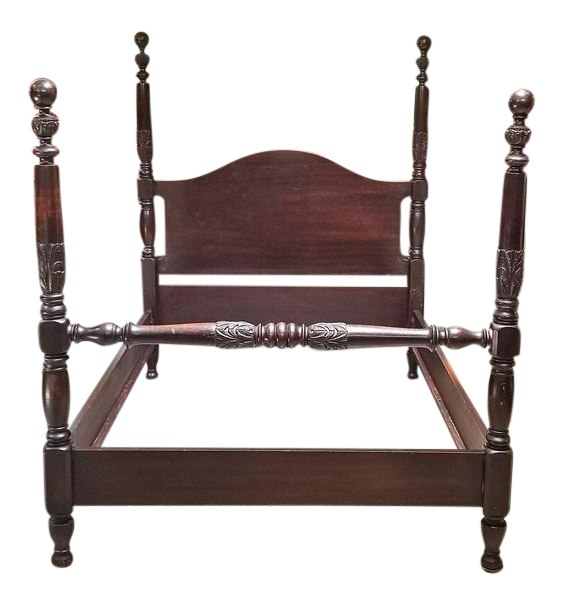 19c American Mahogany Rice 4 Poster Bed For Sale