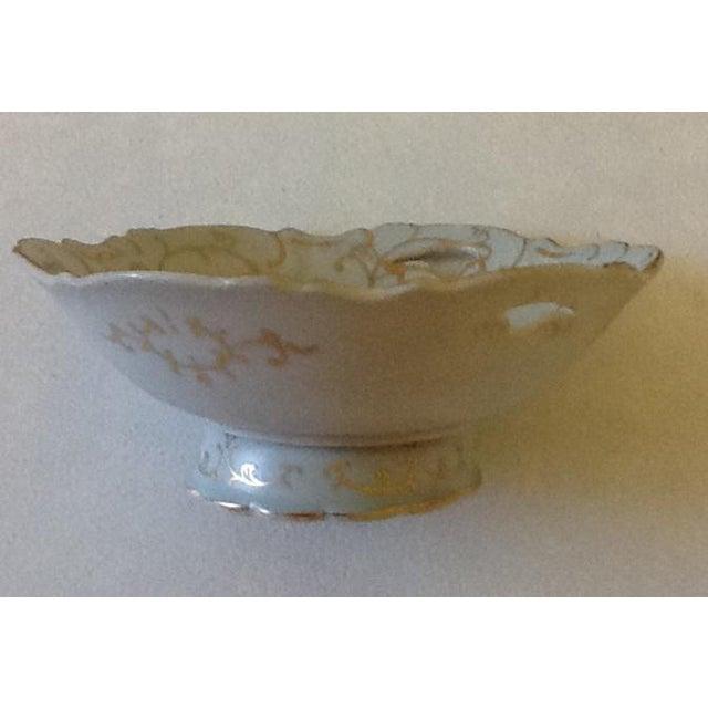 Ardalt Vintage Lenwile-Ardalt Hand Painted Pale Blue With Gold Porcelain Bowl For Sale - Image 4 of 7