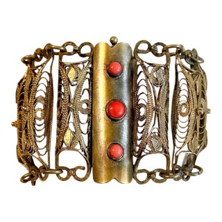 Plated Brass Filigree and Coral Cabochon Bracelet For Sale