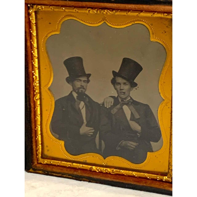 Black Daguerreotype Portrait of Two Men Embracing, Smoking With Ties and Top Hats For Sale - Image 8 of 11
