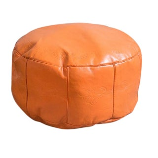 Antique Revival Orange Leather Pouf Ottoman For Sale